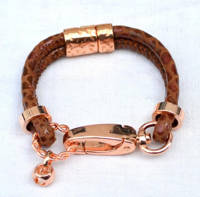 Ziegennappa-Leder Snake mittelbraun in Rosegold