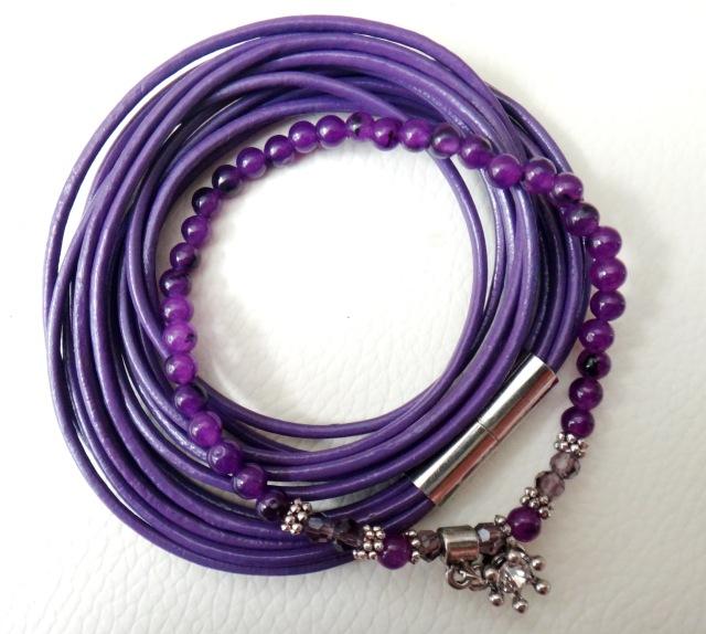 wickelarmband lila und achatarmband